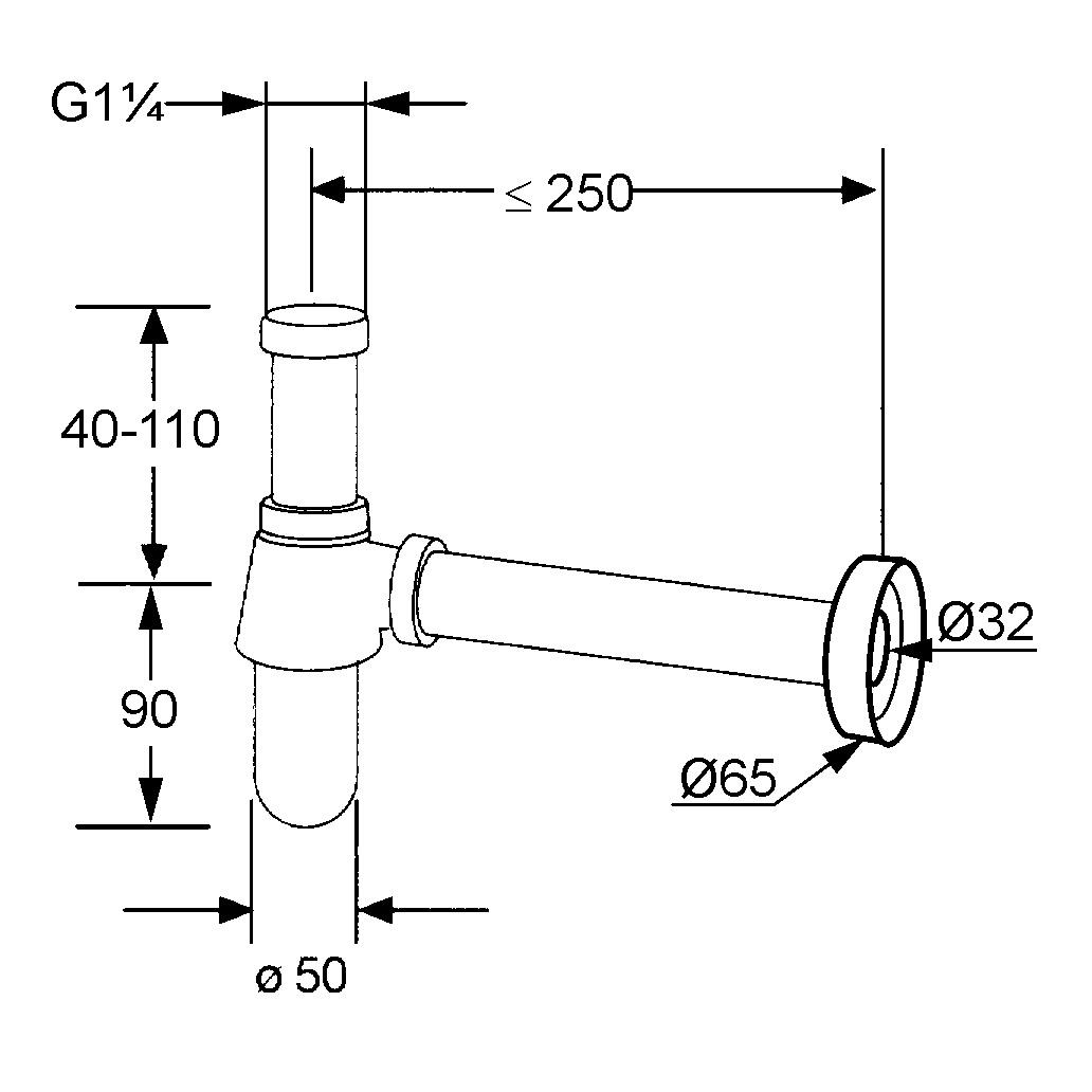 Kludi Búraszifon Króm 1010505-00 műszaki adatlap