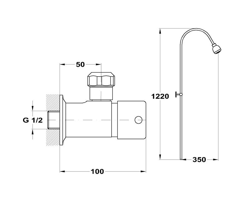 Mofém M-Press automata zuhanyszelep fix felszálló csővel 143-0118-00 műszaki adatlap