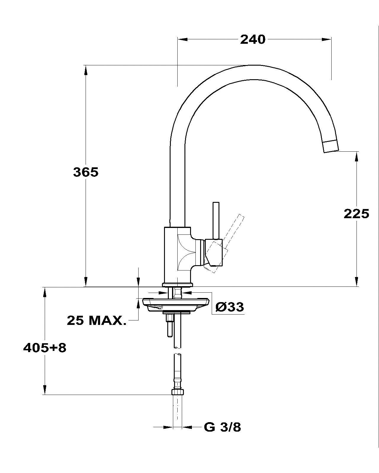 Mofém Junior EVO X Álló Mosogató Csaptelep Magas 240 mm-es Nagyíves Kifolyócsővel 152-0052-01 műszaki adatlap