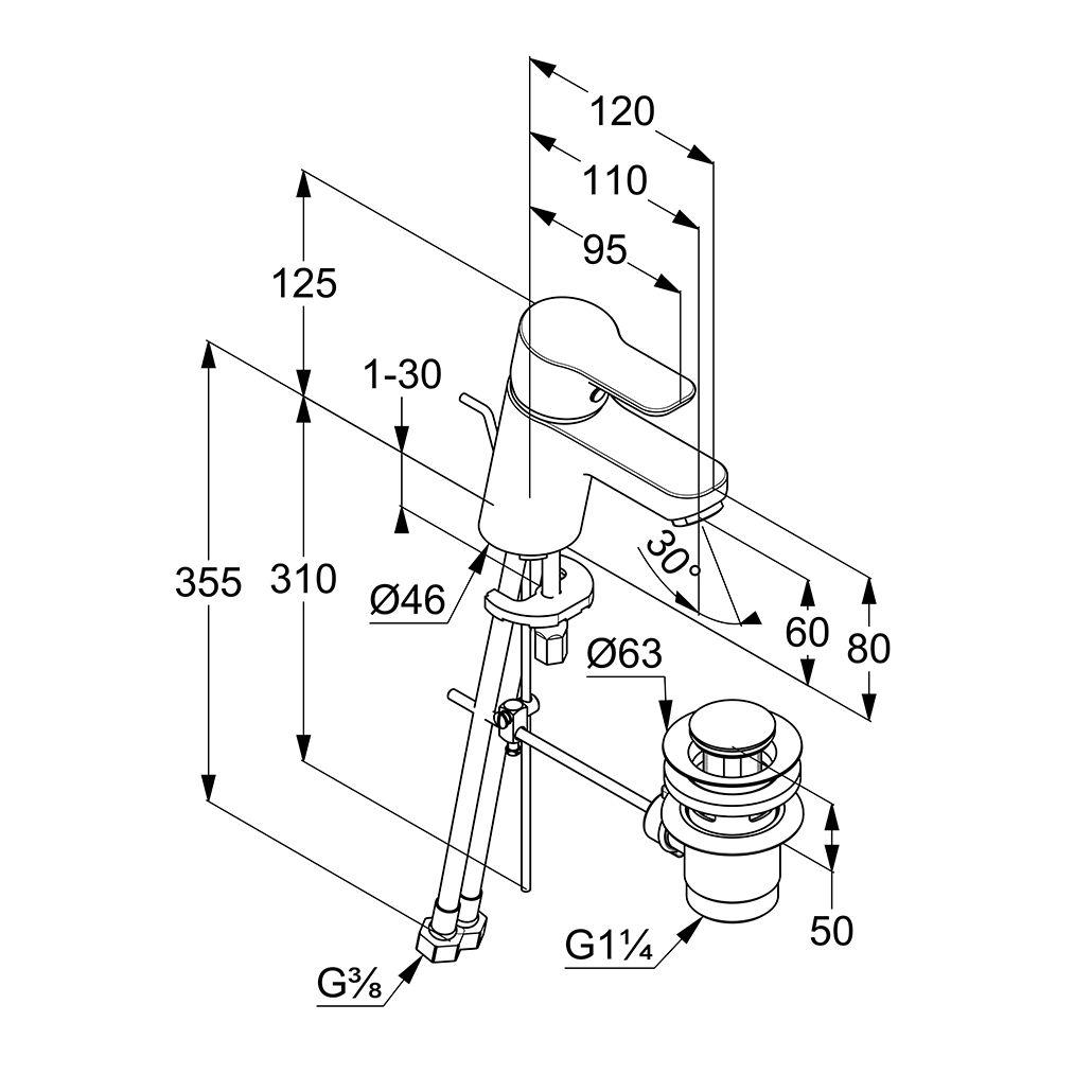 Kludi Pure&Easy Mosdó Csaptelep Műanyag Lefolyószeleppel 372850565 műszaki adatlap