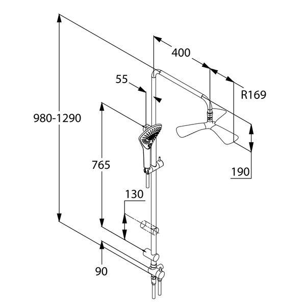 Kludi Fizz Dual Shower System Zuhanyrendszer 6709305-00 műszaki adatlap