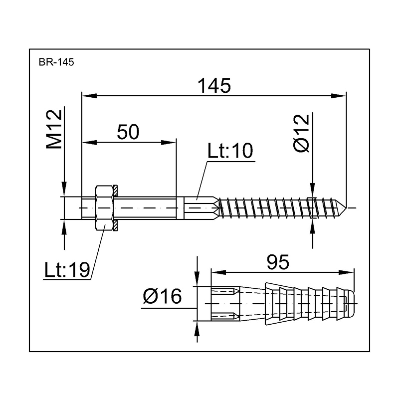 Styron bojler rögzítő csavar 145 mm