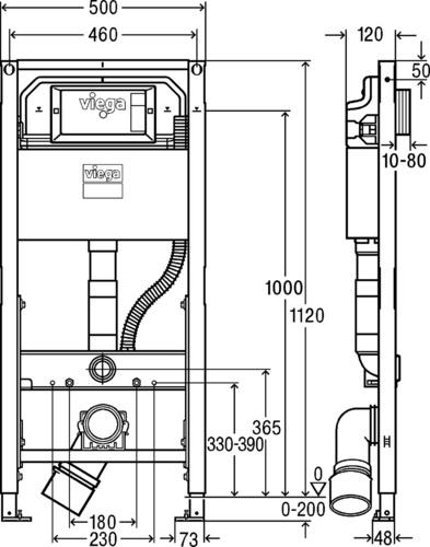 Viega Prevista Dry beépíthető WC tartály állítható kerámia magassággal 1120 mm építési magassággal 771 997 műszaki adatlap
