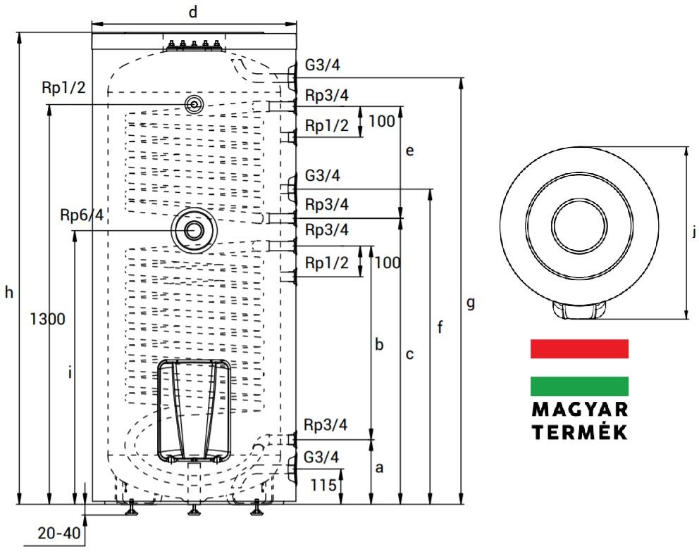 Hajdu STA 300C2 SZTEA 2 Hőcserélős Indirekt Tároló 300 Literes műszaki adatlap
