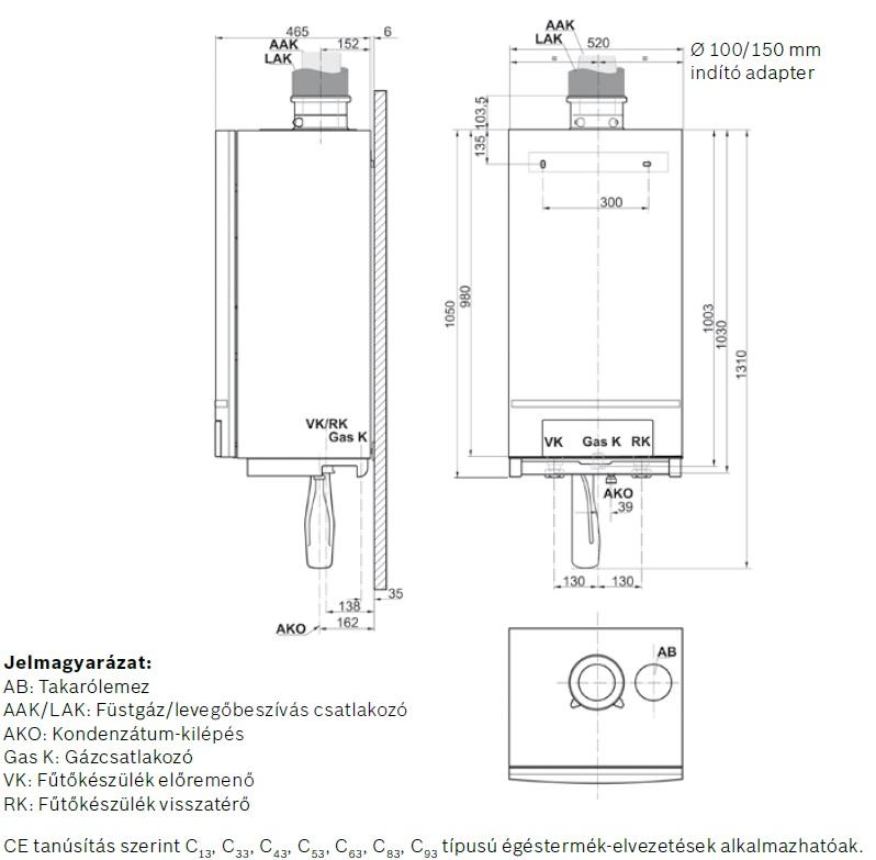 Bosch Condens 5000 W ZBR 100-3 Fali Kondenzációs Fűtő Gázkazán műszaki adatlap