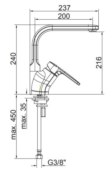 Herz Infinity i21 Álló Mosogató Csaptelep Forgatható Kifolyócsővel UH00172 műszaki adatlap