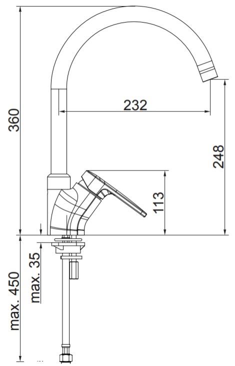 Herz Infinity i22 Álló Mosogató Csaptelep Íves Kifolyócsővel UH00174 műszaki adatlap