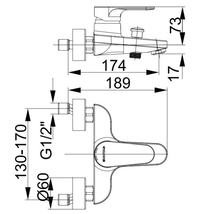 Herz Infinity i30 Kádtöltő Csaptelep Zuhanyszett Nélkül UH00301 műszaki adatlap