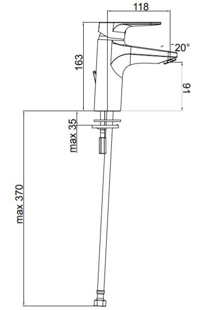 Herz Infinity i12 Mosdó Csaptelep Magasított UH00014 műszaki adatlap
