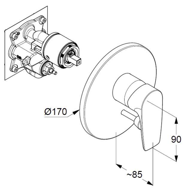 Kludi Pure&Solid falsík alatti kádtöltő- és zuhany csaptelep 346500575 műszaki ábra