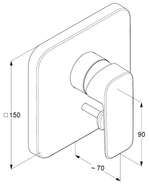 Kludi Pure&Style falsík alatti kádtöltő- és zuhany csaptelep 404190575 műszaki ábra