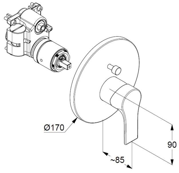 Kludi Zenta SL falsík alatti kádtöltő- és zuhany csaptelep visszafolyásgátlóval 486570565 műszaki ábra