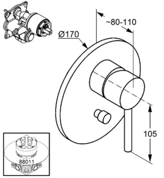 Kludi Bozz falsík alatti kádtöltő- és zuhany csaptelep 386500576 műszaki ábra