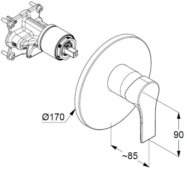 Kludi Zenta SL falsík alatti kádtöltő- és zuhany csaptelep 486500565 műszaki ábra