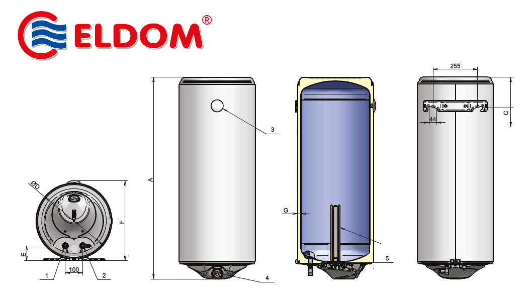 Eldom Style D 50 Elektromos vízmelegítő 50 literes száraz fűtőbetéttel műszaki adatlap