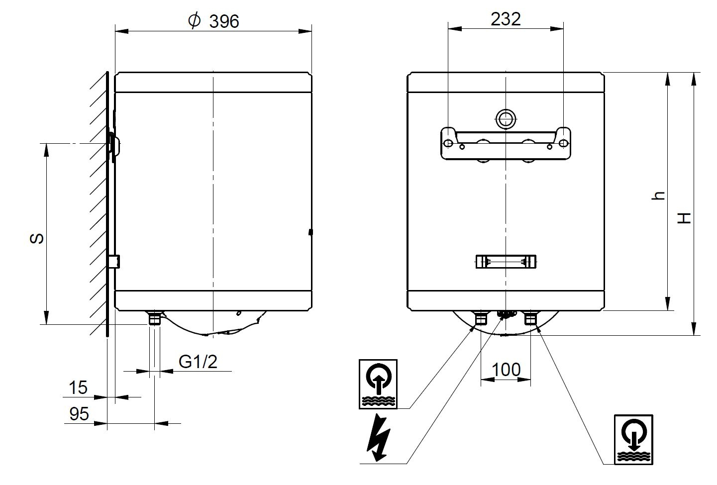 Aquastic (Hajdu Gyártmány) AQ Eco Slim 30 Függesztett villanybojler műszaki ábra