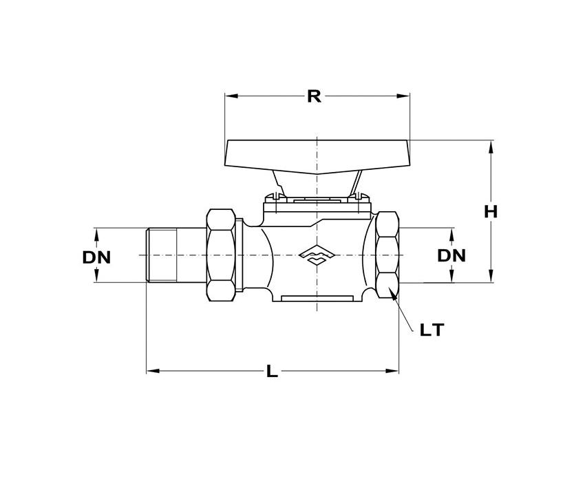 Mofém AHA gömbcsap 3/4 KB gáz 113-0026-00 műszaki adatlap