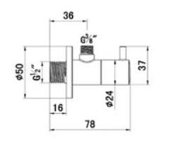Kludi Sarokszelep G1/2 x G3/8 x átm.10 mm kerámia felsőrésszel 1584505-00 műszaki adatlap