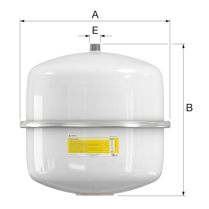 Flamco Flexcon Solar 25/2,5 Szolár tágulási tartály 8 bar fali (16063) műszaki ábra