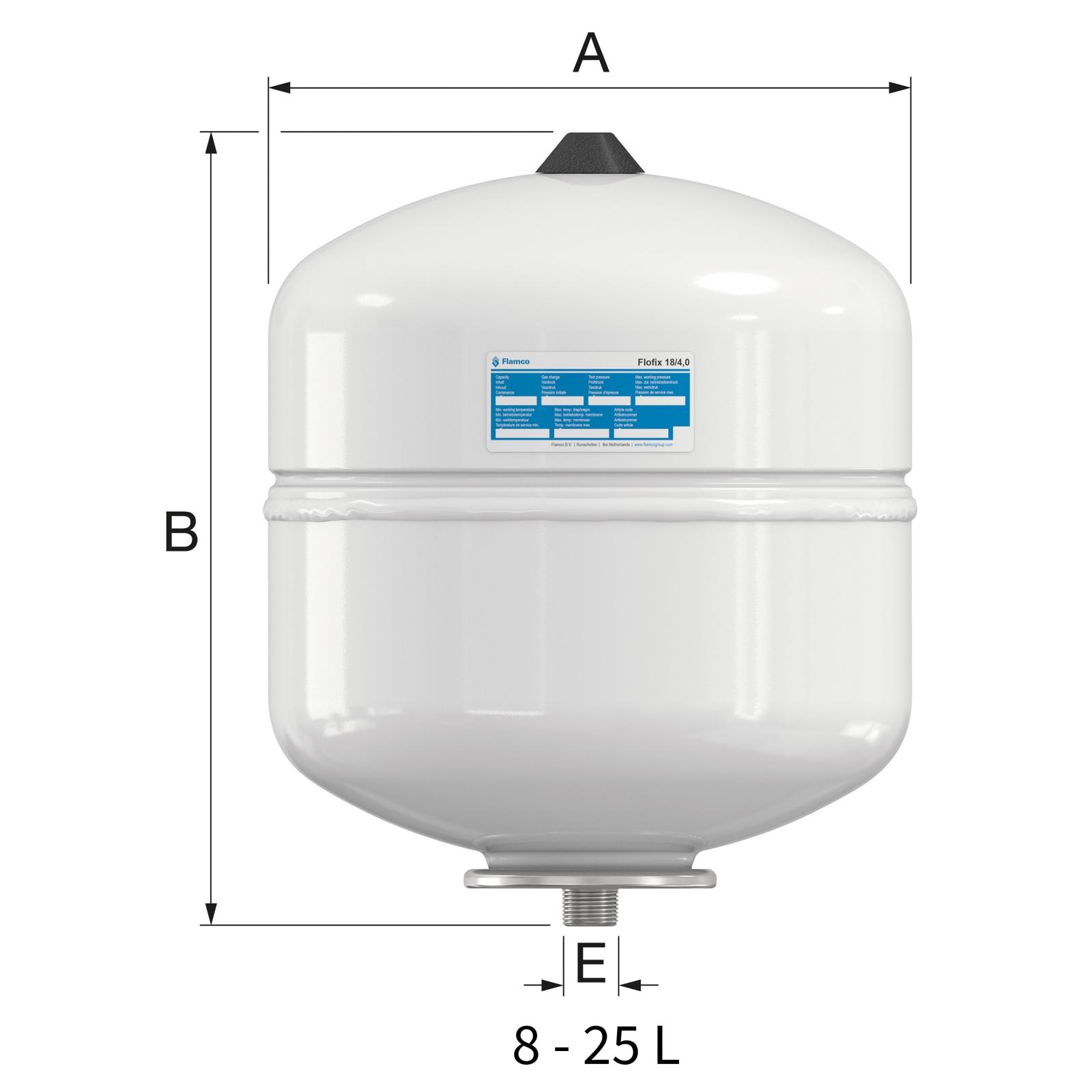 Flamco Flofix 18 Ivóvizes tágulási tartály fali 18 literes 10 bar (25292) műszaki ábra