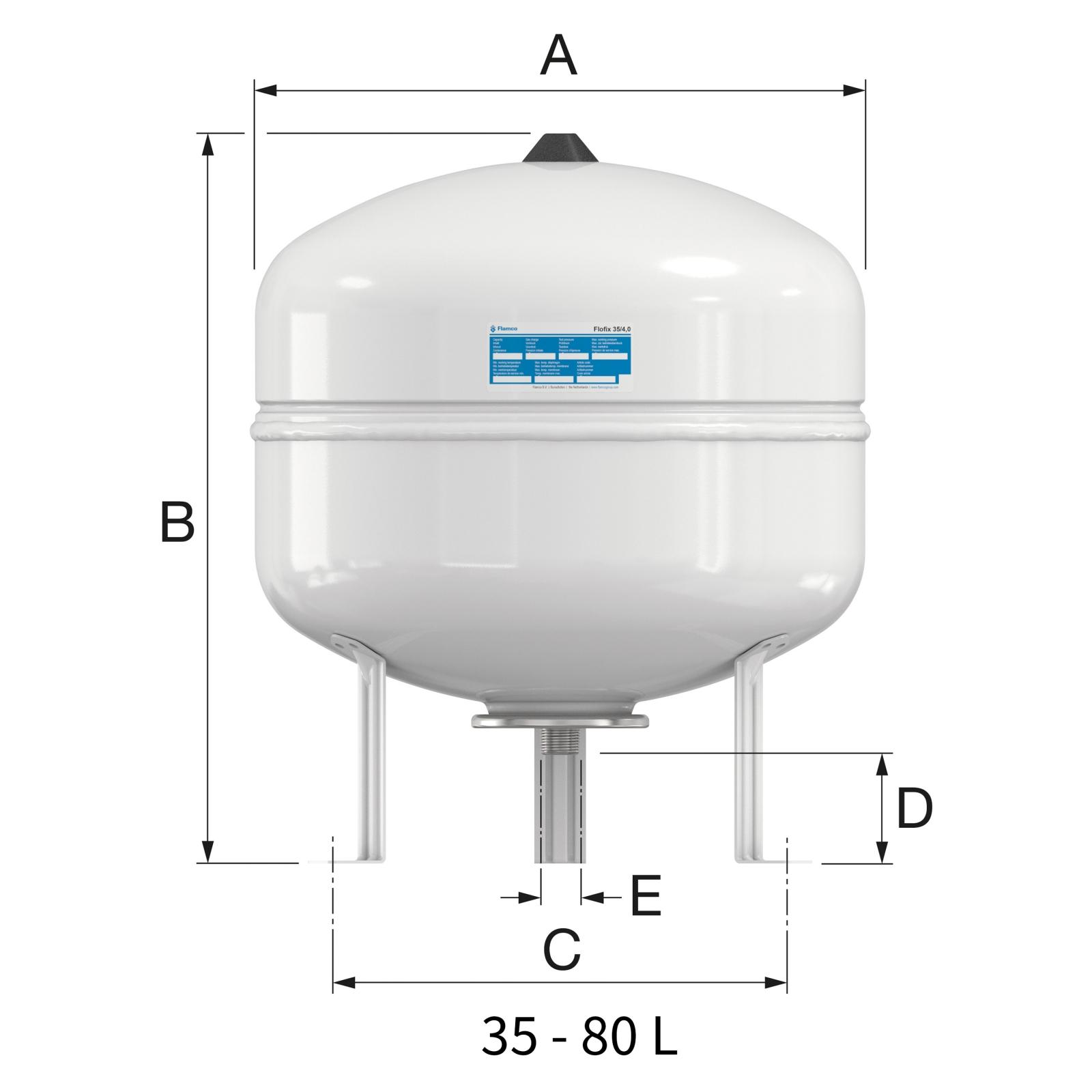 Flamco Flofix 35 Ivóvizes tágulási tartály lábakkal 35 literes 10 bar (25294) műszaki ábra