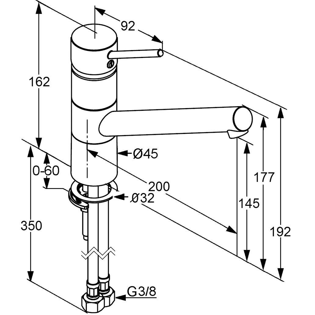 Kludi Scope XL Mosogató csaptelep elfordítható kifolyócsővel 339300575 műszaki adatlap