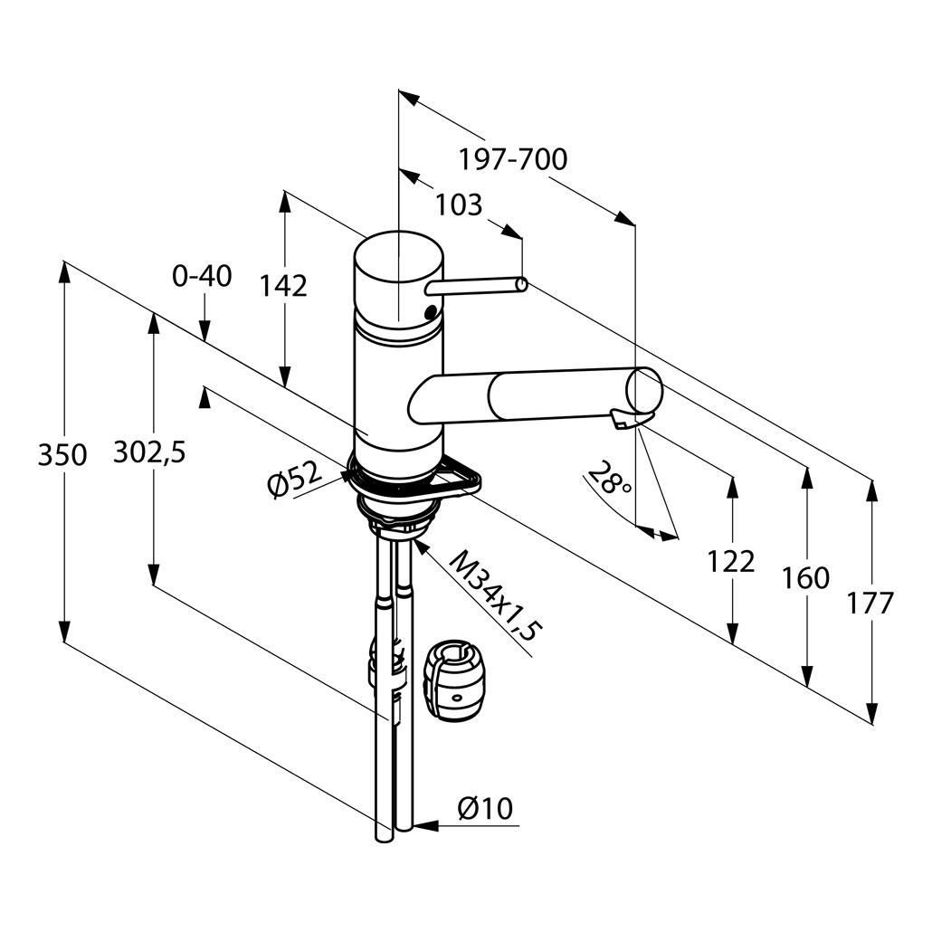 Kludi Scope  Mosogató csaptelep kihúzható kifolyócsővel 339310575 műszaki adatlap