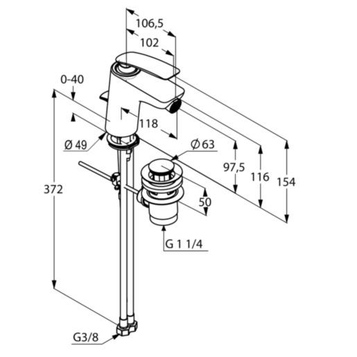 Kludi Balance Bidé csaptelep lefolyógarnitúrával mattfekete/króm 522168775 műszaki adatlap