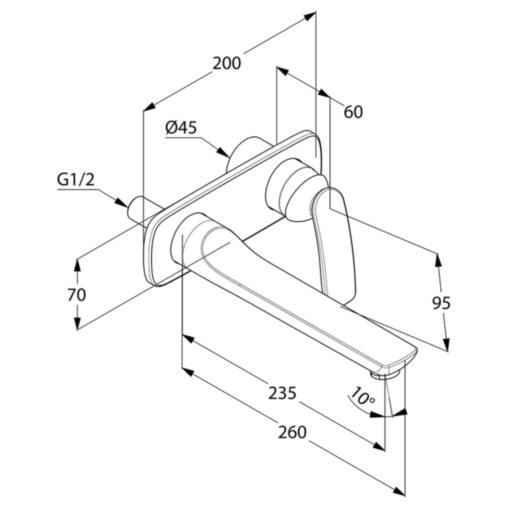 Kludi Balance Falsík alatti mosdó csaptelep látható rész 235 mm karbenyúlással mattfekete/króm 522478775 műszaki adatlap