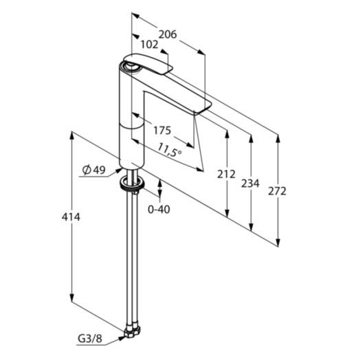 Kludi Balance Magasított Mosdó csaptelep mosdótálhoz mattfekete/króm kifolyó magassága 212 mm 522968775 műszaki adatlap