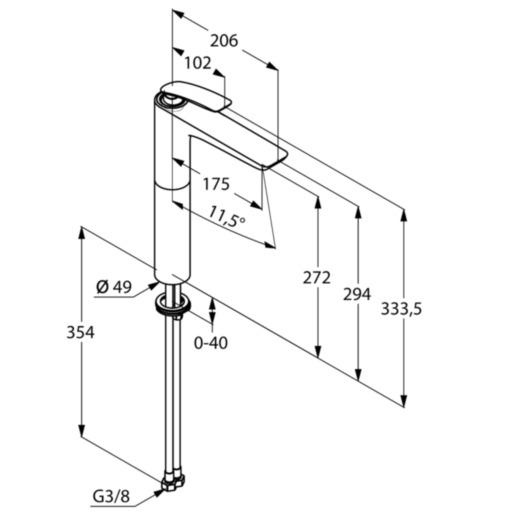 Kludi Balance Magasított Mosdó csaptelep mosdótálhoz mattfekete/króm kifolyó magassága 272 mm 522988775 műszaki adatlap