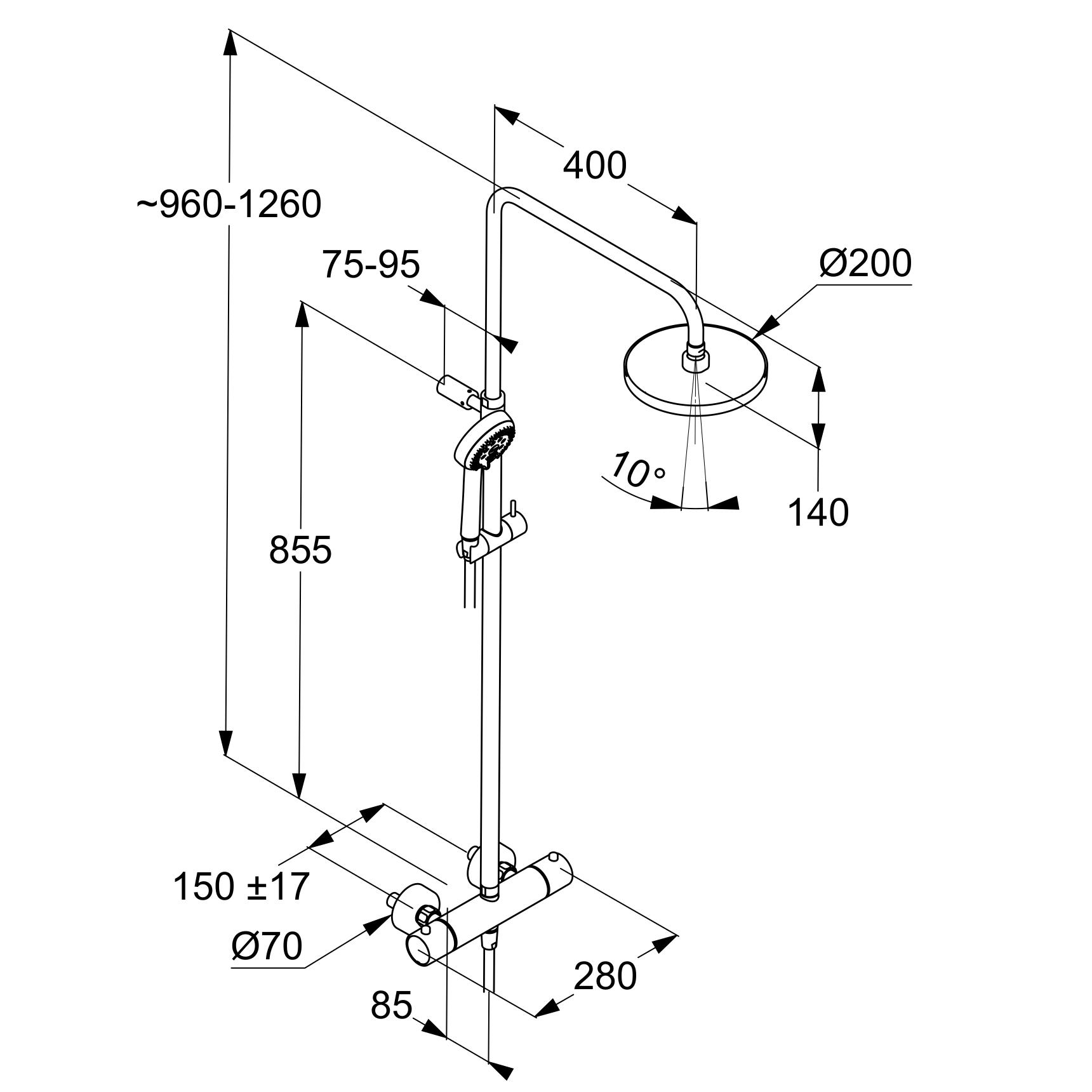 Kludi Logo 3S Zuhanyrendszer termosztátos zuhanycsapteleppel 6809205-00 műszaki adatlap