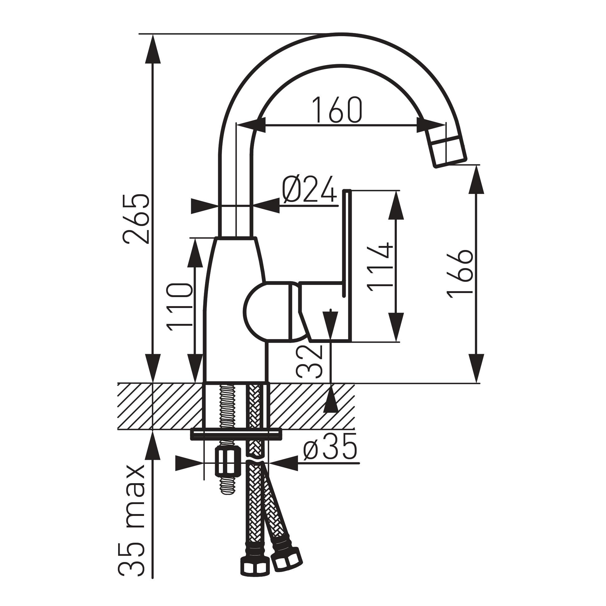 Ferro Algeo BAG2A Álló mosogató csaptelep íves forgatható kifolyócsővel