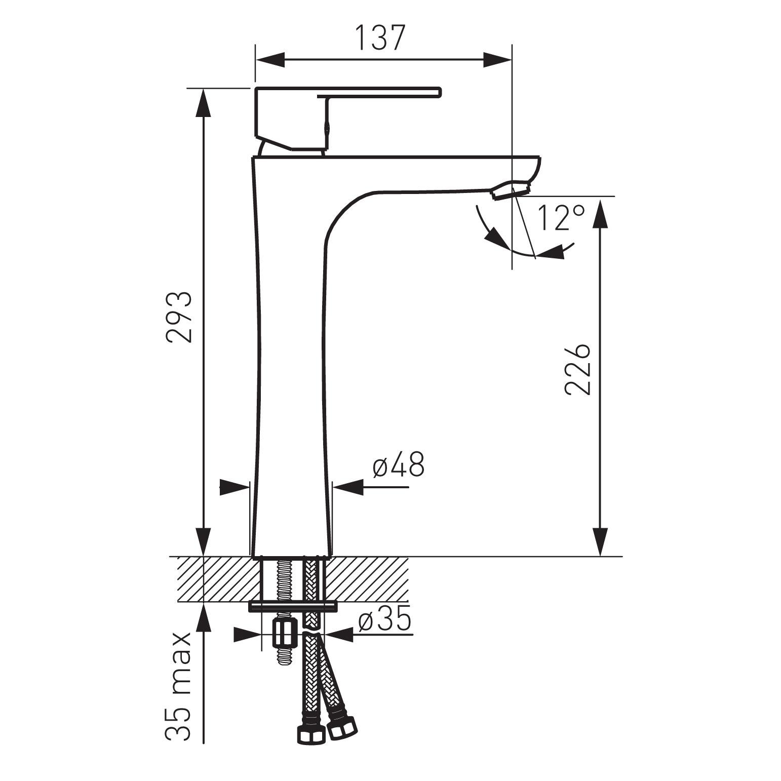 Ferro Algeo BAG2L Magasított mosdó csaptelep műszaki adatlap