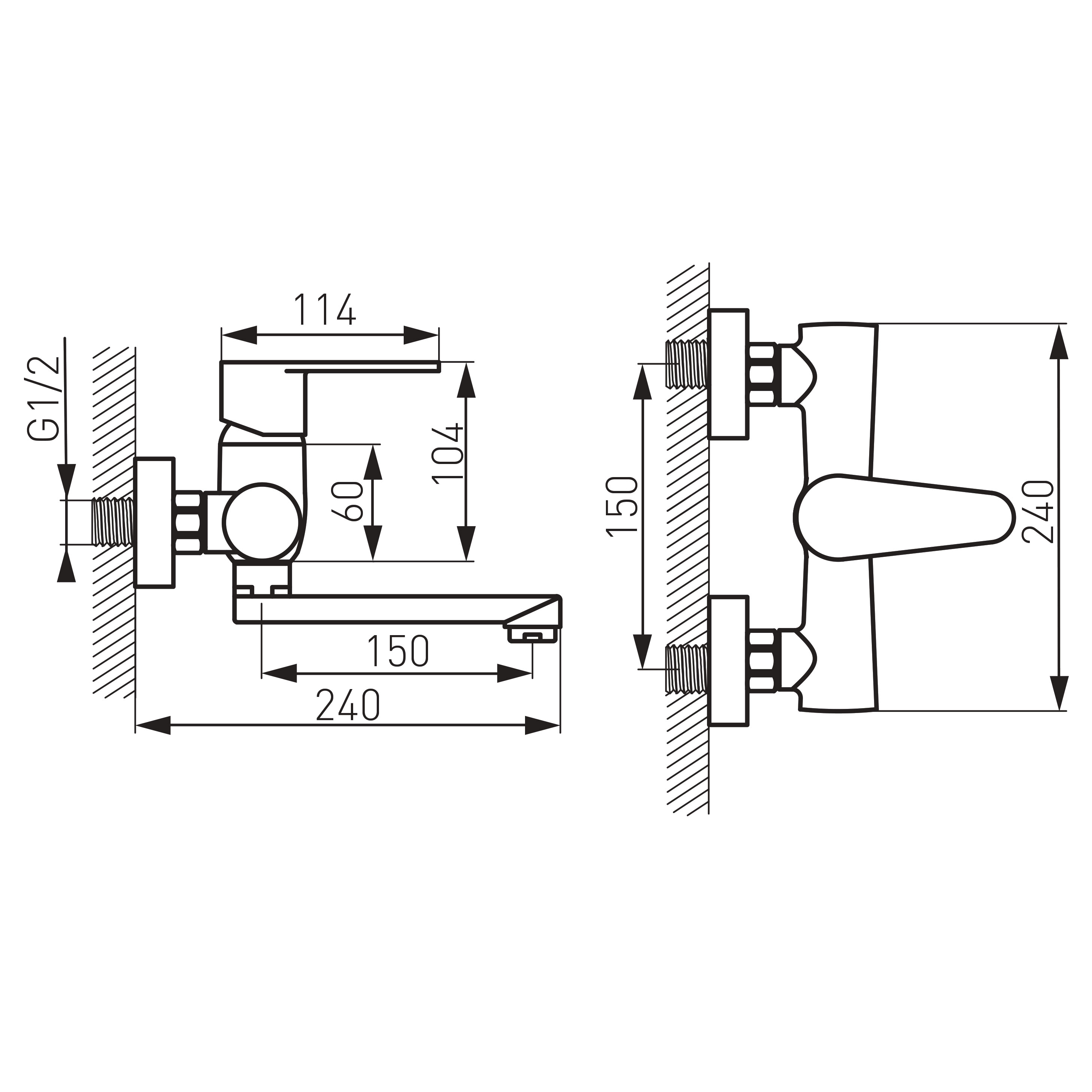 Ferro Algeo BAG3 Fali mosdó csaptelep alsó kifolyással műszaki adatlap