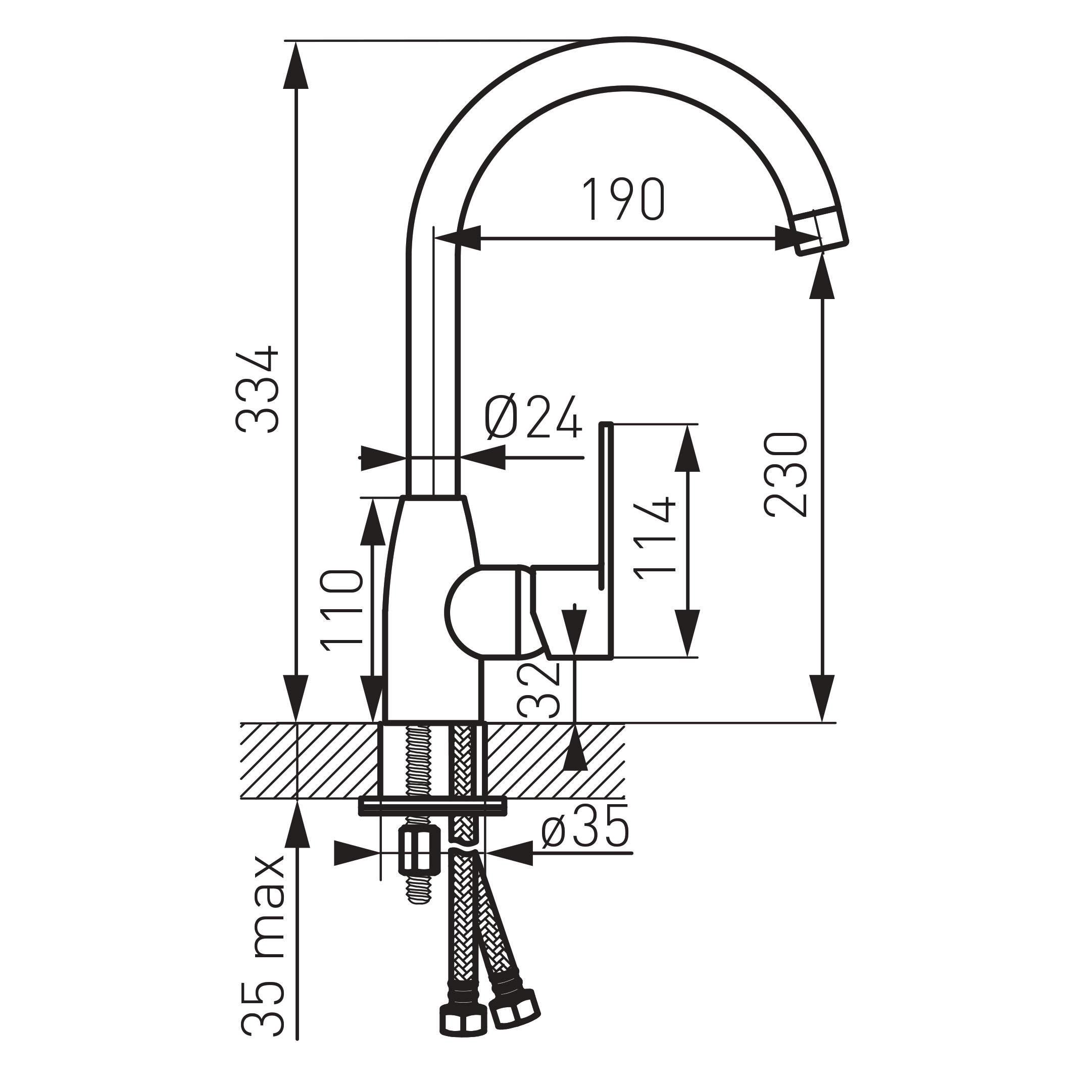 Ferro Algeo BAG4 Íves mosogató csaptelep elforgatható kifolyócsővel műszaki adatlap