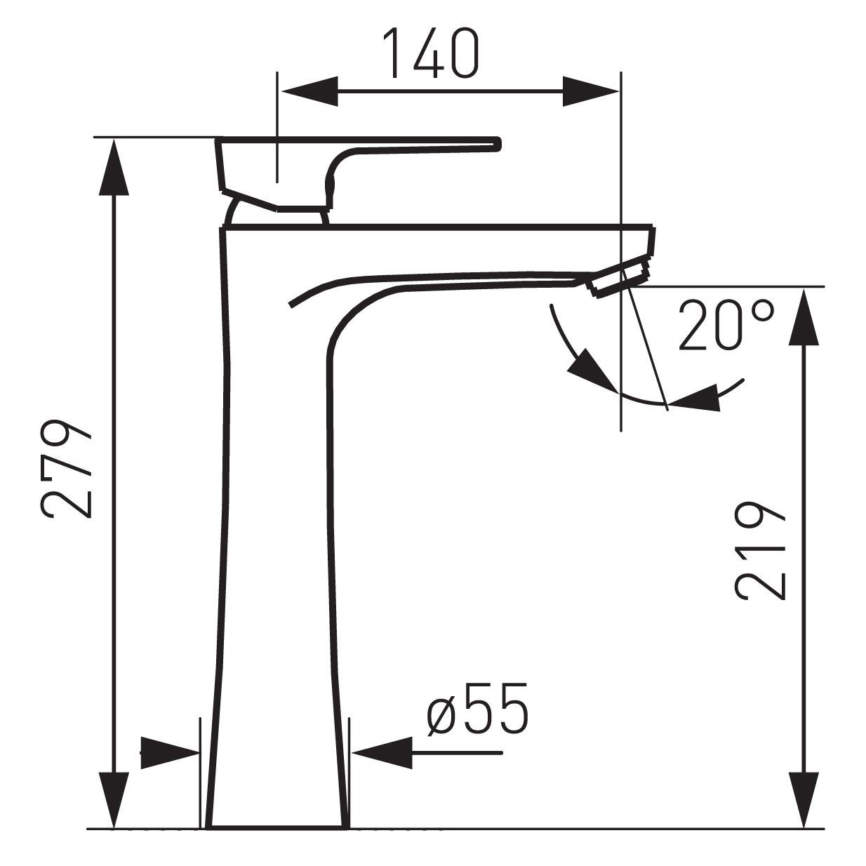 Ferro Algeo Square BAQ2L Magasított mosdó csaptelep műszaki adatlap
