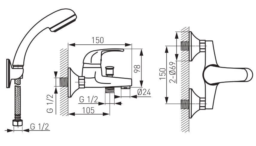 Ferro Vasto BVA11 Kádtöltő csaptelep zuhanyszettel műszaki adatlap