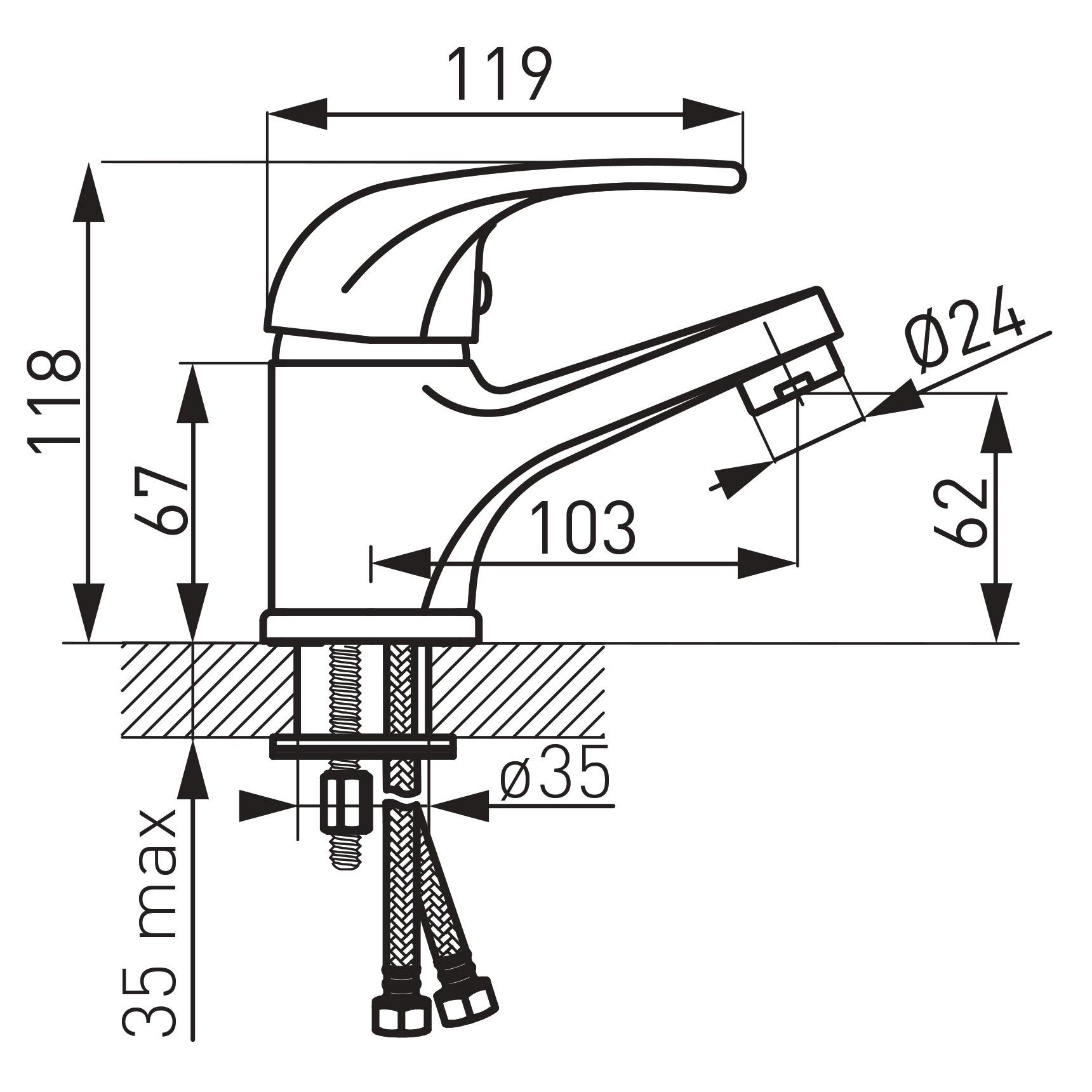 Ferro Vasto BVA2 Mosdó csaptelep automata leeresztőszettel műszaki adatlap