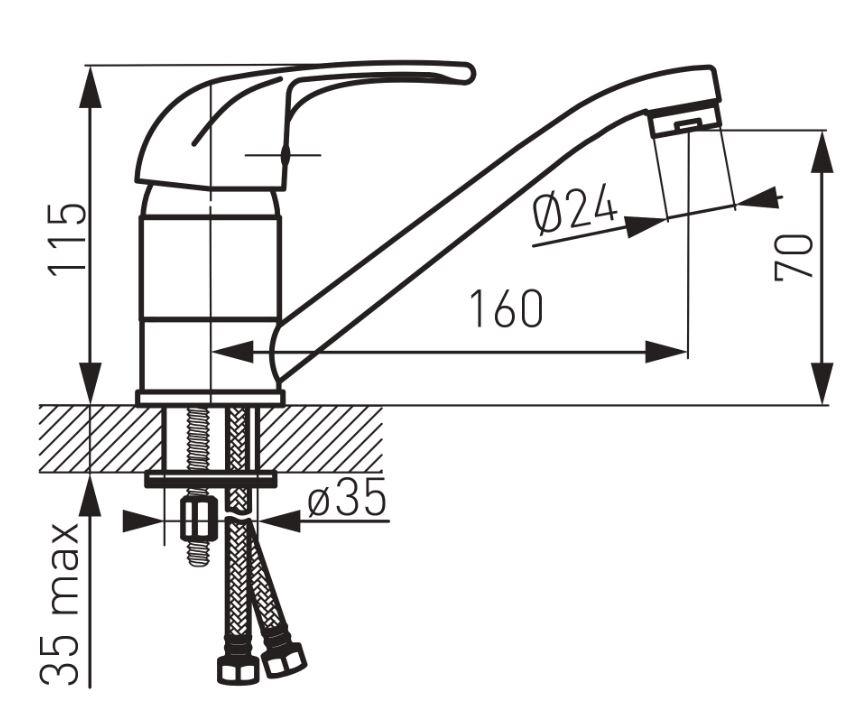 Ferro Vasto BVA2A Mosdó csaptelep elforgatható kifolyócsővel műszaki adatlap