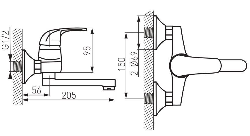 Ferro Vasto BVA3 Fali Mosogató csaptelep elforgatható 150 mm-es kifolyócsővel műszaki adatlap