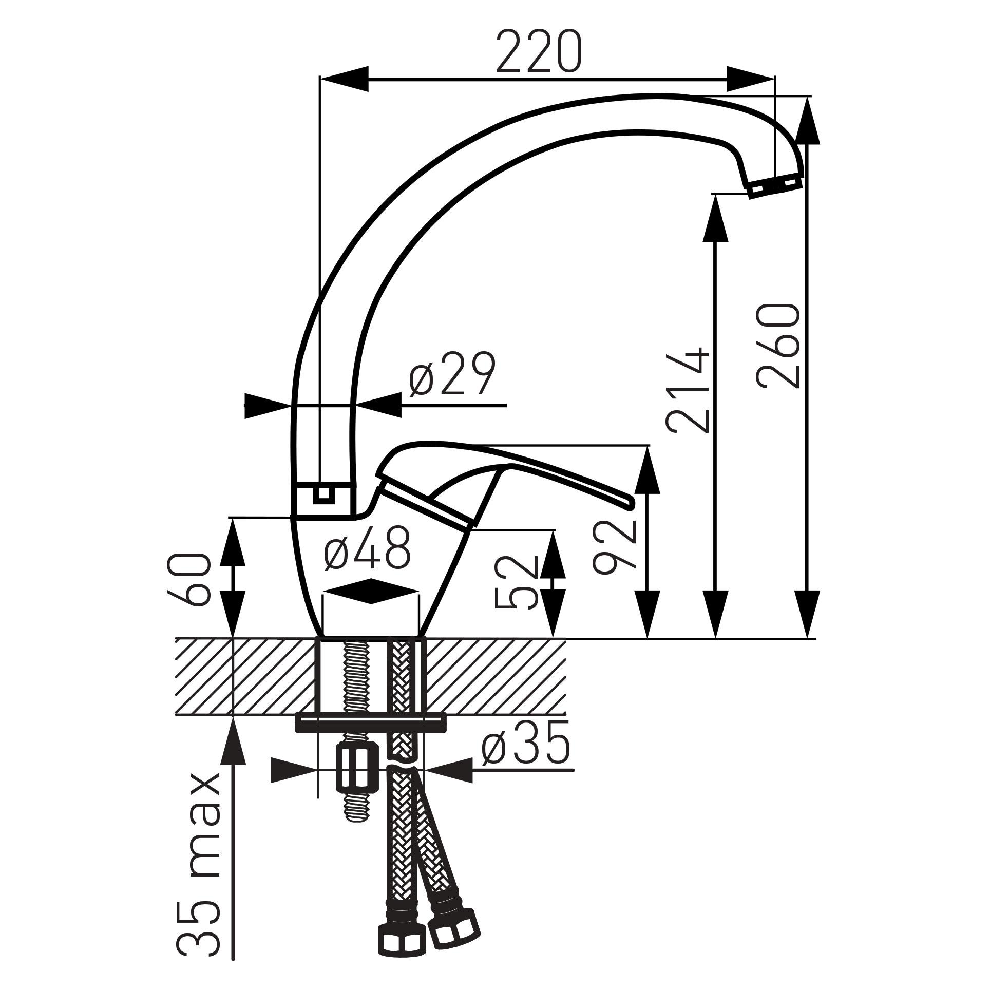 Ferro Vasto BVA4A Álló Íves Mosogató csaptelep elforgatható 220 mm-es kifolyócsővel műszaki adatlap