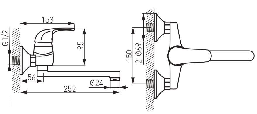 Ferro Vasto BVA5 Fali Mosogató Csaptelep elforgatható 200 mm-es kifolyócsővel műszaki adatlap