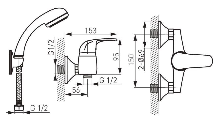 Ferro Vasto BVA77 Zuhany csaptelep fali zuhanyszettel műszaki adatlap