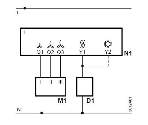 Siemens RAB21 mechanikus fan-coil termosztát ventilátor kapcsolóval műszaki ábra