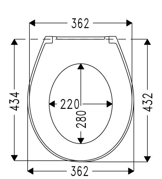 RAMI-0110 Bella WC ülőke lecsapódásgátlós, rozsdamentes zsanérral műszaki ábra
