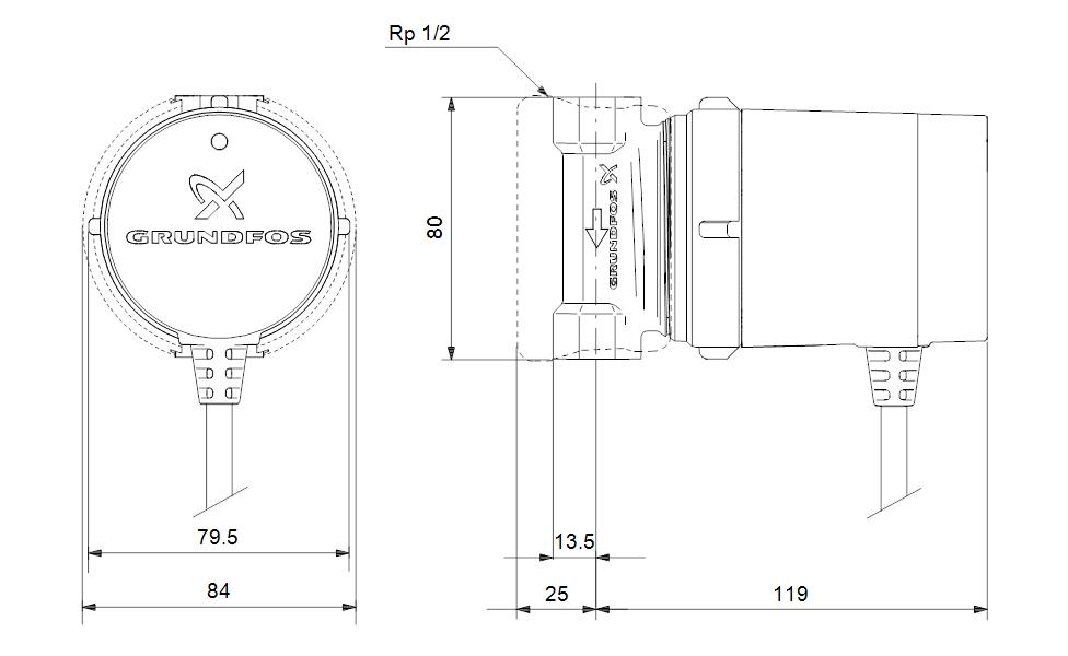 Grundfos COMFORT 15-14 B PM Cirkulációs szivattyú (97916771) műszaki ábra