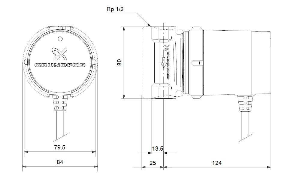 Grundfos COMFORT 15-14 BDT PM Cirkulációs szivattyú (99812350) műszaki ábar
