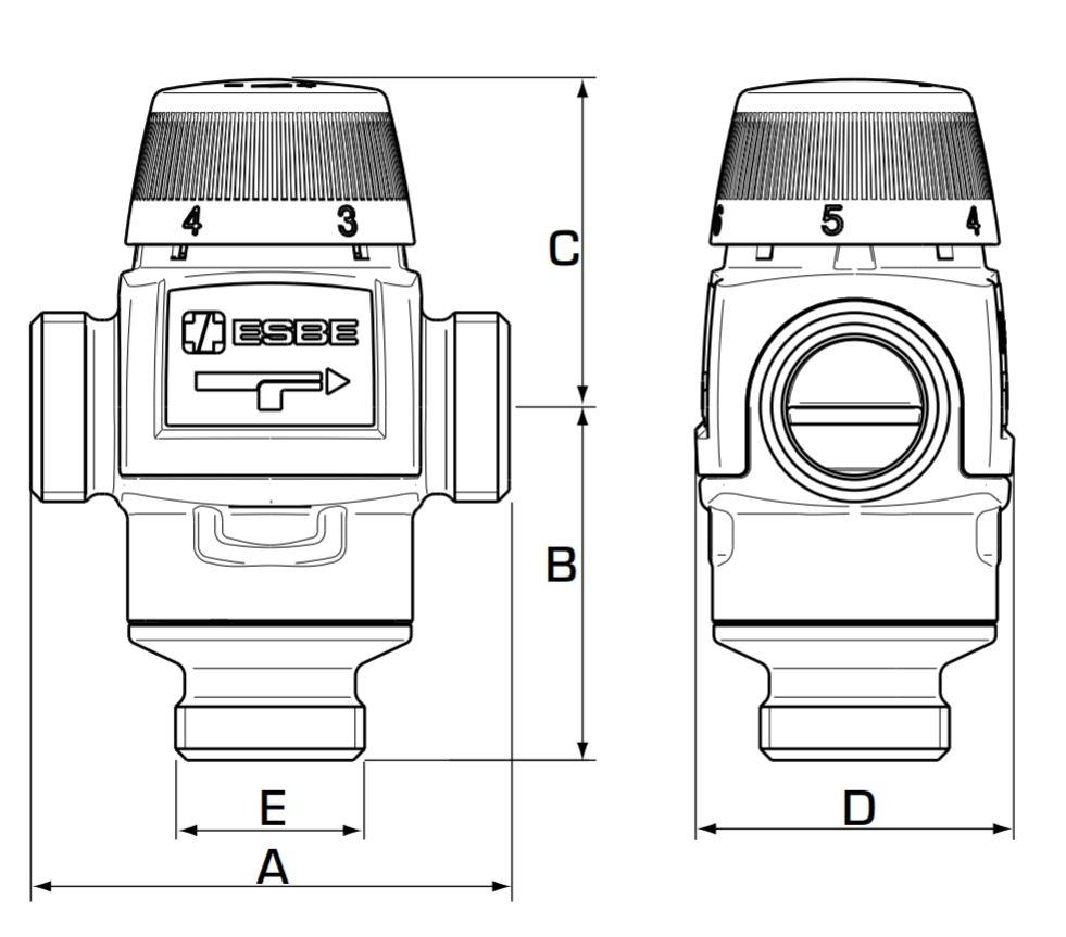 ESBE VTA 372 20-55°C Keverőszelep 1 műszaki ábra