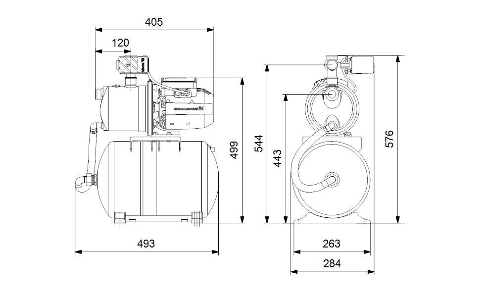 Grundfos JP 4-47 PT-H Házi vízmű 1,5m kábellel 20 l tartállyal (99463875) műszaki ábra